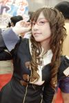 1girl brown_hair cosplay glasses photo red-framed_glasses solo
