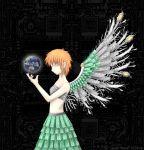 90s circuit_board earth hair_ornament hairclip iwakura_lain midriff orange_hair serial_experiments_lain short_hair wings