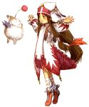 1girl bandage blush brown_hair clavat creature final_fantasy final_fantasy_crystal_chronicles floating_hair full_body green_eyes habit hair_ribbon hair_tubes long_hair low-tied_long_hair moogle open_mouth original outstretched_arms ribbon robe sakamoto_mineji shoes sidelocks simple_background smile solo spread_arms standing tied_hair tiptoes very_long_hair white_mage whitemage