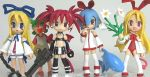 5girls chibi crossover disgaea etna fallen_angel figure flonne flonne_(fallen_angel) koiwai_yotsuba leotard makai_senki_disgaea multiple_girls odd_one_out original photo pleinair same-san stuffed_animal stuffed_toy thigh-highs yotsubato!