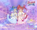 00s 2005 2girls april blue_hair calendar dress drill_hair fine fushigiboshi_no_futago_hime looking_at_viewer magical_girl mary_janes multiple_girls pink_hair rein shoes smile standing standing_on_one_leg symmetry tiara wand