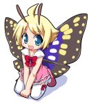 1boy antennae blonde_hair fairy full_body insect_wings male_focus mary_janes osaragi_mitama pink_shoes shimon shimotsuma shoes solo thigh-highs trap white_background white_legwear wings
