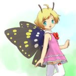 1boy antennae butterfly crossdressing dress fairy gradient gradient_background insect_wings lowres male_focus pink_dress shimon shimotsuma solo thigh-highs trap wings