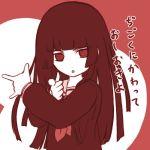 1girl \m/ bangs bishoujo_senshi_sailor_moon blunt_bangs crossover enma_ai hime_cut jigoku_shoujo lowres monochrome parody solo tsuki_ni_kawatte_oshioki_yo