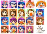 6+girls azumanga_daioh bandage bandaid black_hair blush brown_eyes brown_hair cat child drunk everyone expressions glass glasses icon kagura kagura_(azumanga_daiou) kaori_(azumanga_daiou) kasuga_ayumu kimura's_wife long_hair lowres mihama_chiyo mizuhara_koyomi multiple_girls nekokoneko purple_hair sakaki school_uniform serafuku takino_tomo