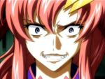 00s 1girl blue_eyes clenched_teeth close-up evil face fangs gundam gundam_seed gundam_seed_destiny hair_between_eyes lacus_clyne long_hair pink_hair sidelocks solo teeth