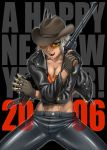 00s 1girl 2006 bang-you between_fingers breasts bullet cigarette cleavage cowboy_hat dark_skin denim glasses gloves gun handgun hat jacket jeans leather midriff muscle new_year original pants revolver short_hair smoking solo stray_bullets sunglasses weapon western