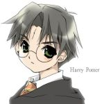 1boy black_hair character_name glasses green_eyes harry_james_potter harry_potter koge_donbo male_focus scar solo