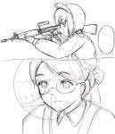 2girls assault_rifle battle_rifle bob_cut bonnet creator_connection emma emma_(victorian_romance_emma) fn_fal glasses gun haou_airen hat maid maid_headdress monochrome multiple_girls parody rifle shirley shirley_madison shirley_medison short_hair sketch victorian_romance_emma weapon