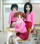 3girls animegao azumanga_daioh child cosplay kasuga_ayumu kigurumi mihama_chiyo multiple_girls photo pleated_skirt school_uniform serafuku short_twintails skirt takino_tomo twintails zentai