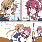 00s 2girls chikage_(sister_princess) comic english lowres maid menu multiple_girls oekaki pantyhose sakuya_(sister_princess) sister_princess violet_eyes waitress yuri