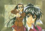 2girls 90s book glasses hosaka_miyuki matsuoka_chie multiple_girls school_uniform sentimental_graffiti serafuku