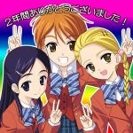 00s 3girls blonde_hair bow bowtie brown_eyes brown_hair double_v futari_wa_precure futari_wa_precure_max_heart kujou_hikari masakichi_(crossroad) misumi_nagisa multiple_girls precure purple_hair school_uniform serafuku striped striped_bow striped_bowtie v violet_eyes yellow_eyes yukishiro_honoka