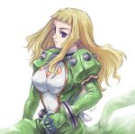 1girl armor blonde_hair breastplate dress expressionless green_dress haruka_armitage jewelry lowres maruto! my-otome neck_ring parted_lips simple_background solo spikes teeth violet_eyes white_background
