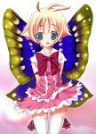 1girl antenna_hair aqua_eyes blonde_hair butterfly orange_hair raidon shimon shimotsuma solo thigh-highs