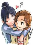 2girls brown_eyes brown_hair futari_wa_precure_splash_star heart hug hug_from_behind hyuuga_saki long_hair mishou_mai multiple_girls precure purple_hair short_hair yuri