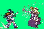 4girls ashita_no_nadja blonde_hair boots brown_hair company_connection crossover cure_black cure_white dress fighting_game futari_wa_precure half_updo hat hqvga jojo_no_kimyou_na_bouken knee_boots long_hair lowres magical_girl misumi_nagisa multiple_girls nadja_applefield parody pixel_art porkpie_hat precure purple_hair rosemary_applefield short_hair touei wallpaper yukishiro_honoka