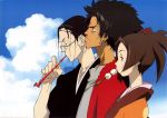 00s 1girl 2boys black_hair blue_sky brown_eyes brown_hair earrings everyone food fuu glasses hair_bobbles hair_bun hair_ornament japanese_clothes jewelry jinnosuke kimono kiseru long_hair mouth_hold mugen multiple_boys official_art pipe ponytail portrait profile red_shirt samurai_champloo shirt short_hair sky smoking_pipe stick trio