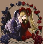 00s 2girls black_rose blonde_hair blue_eyes bonnet bow chiko_(artist) chiko_(kanhogo) dress drill_hair flower frills hairband hand_holding long_hair multiple_girls pink_eyes rose rozen_maiden shinku silver_hair suigintou violet_eyes wings