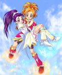 2girls boots brown_eyes brown_hair carrying cure_bloom cure_egret earrings flying futari_wa_precure_splash_star hyuuga_saki jewelry knee_boots long_hair magical_girl mishou_mai multiple_girls pink_boots precure princess_carry purple_hair short_hair shorts_under_skirt violet_eyes white_boots