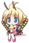 1girl blonde_hair blue_eyes butterfly chibi crepe fairy food ice_cream mary_janes osaragi_mitama pink_shoes shimon shimotsuma shoes solo thigh-highs