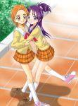 2girls futari_wa_precure_splash_star hug hyuuga_saki mishou_mai multiple_girls precure school_uniform serafuku yuri
