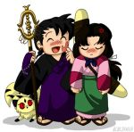 1boy 1girl anger_vein beads black_hair blush boomerang chibi inuyasha japanese_clothes khakkhara kirara_(inuyasha) long_hair lowres miroku miroku_(inuyasha) monk ponytail prayer_beads rosary sandals sango slap_mark staff tail