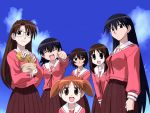 6+girls azumanga_daioh blue_hair brown_eyes brown_hair child everyone glasses kagura kagura_(azumanga_daiou) kasuga_ayumu long_hair mihama_chiyo mizuhara_koyomi multiple_girls orange_hair pleated_skirt sakaki school_uniform serafuku short_twintails skirt takino_tomo twintails