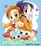 2girls chibi choppy flappy futari_wa_precure_splash_star half_updo hyuuga_saki lowres mishou_mai multiple_girls precure