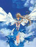 1girl 90s aa_megami-sama anklet belldandy bracelet clouds ear_piercing earrings earth goddess highres jewelry long_hair moon outdoors piercing ponytail sky solo wings
