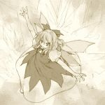 1girl bow cirno dress fairy_wings female hair_bow kasuga_yukihito lowres monochrome solo the_embodiment_of_scarlet_devil touhou wings yellow