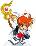 >:d 1girl :d bow bowtie cowboy_shot eyebrows eyebrows_visible_through_hair fingerless_gloves gloves grey_eyes hair_ribbon holding holding_weapon lyrical_nanoha magazine_(weapon) magical_girl mahou_shoujo_lyrical_nanoha mahou_shoujo_lyrical_nanoha_a's open_mouth polearm raising_heart redhead ribbon rod sandgarden simple_background smile solo staff takamachi_nanoha twintails violet_eyes weapon white_background white_devil