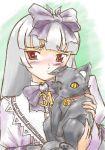 1girl 3.1-tan bangs blunt_bangs blush cat collar dos_cat dress gothic_lolita hair_ribbon lolita_fashion neck_ribbon os-tan red_eyes ribbon silver_hair solo upper_body
