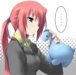 air blue_eyes dinosaur kamio_haruko kantoku long_hair ponytail redhead stuffed_animal stuffed_toy