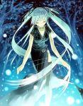 1girl closed_eyes dress forest green_hair mabinogi magic nao_(mabinogi) nature night solo sparkle ueda_ryou
