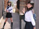 1girl asian black_socks outdoors photo school_uniform serafuku