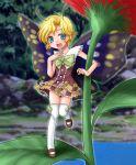 1boy antennae blonde_hair blue_eyes fairy male_focus mary_janes minigirl nature outdoors shimon shimotsuma shoes solo thigh-highs trap wings yokoshima_tsumugi