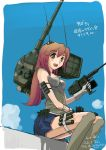 1girl antennae ground_vehicle gun mecha_musume military military_vehicle motor_vehicle original pinzu solo tank type_74 vehicle weapon