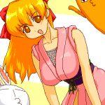 1girl azumanga_daioh bangs breasts brown_eyes cat chiyo_chichi cosplay fishnets from_below hanging_breasts japanese_clothes kimono large_breasts looking_down lowres mesousa ninin_ga_shinobuden obi open_mouth pani_poni_dash! rabbit redhead sash shinobu shinobu_(cosplay) shiratori_suzune short_kimono