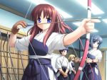 1boy 3girls archery archery_dojo arrow blue_eyes bow_(weapon) brown_hair game_cg gayarou hakama japanese_clothes kyuudou long_hair marksman miyashiro_karin multiple_girls muneate ponytail range redhead single_glove suigetsu weapon yugake