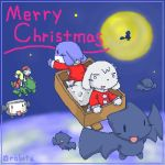 1boy 1girl balrog_(doukutsu_monogatari) chaco christmas curly_brace doukutsu_monogatari huzzah lowres misery oekaki quote santa_(doukutsu_monogatari)