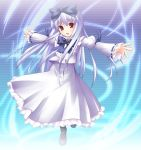 1girl 3.1-tan blue_bow bow full_body long_hair long_sleeves looking_at_viewer mary_janes os-tan outstretched_arms red_eyes shimakaze shoes silver_hair simple_background solo very_long_hair