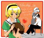 1boy 1girl blonde_hair blush chair copyright_name couple english hairband hand_on_another's_head heart hetero higurashi_no_naku_koro_ni houjou_satoko hug looking_down maebara_keiichi school_uniform short_hair sitting spoken_heart
