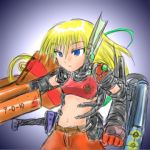 1girl blonde_hair blue_eyes curly_brace doukutsu_monogatari gradient gradient_background lowres metroid midriff oekaki power_armor power_suit solo