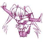 1girl birdrun izumi_masashi lowres masashi_izumi monochrome outstretched_arms pachira purple renkin_san-kyuu_magical_pokaan solo spread_arms thigh-highs