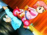 1boy 1girl @_@ bridge dutch_angle kage_kara_mamoru! kindergarten kindergarten_uniform konnyaku_yuuna looking_back tricycle