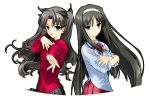 00s 2girls black_hair bow crossed_arms crossover fate/stay_night fate_(series) green_eyes hair_bow hairband hand_on_own_chest long_hair multiple_girls naruse_hirofumi tohno_akiha tohsaka_rin tsukihime turtleneck very_long_hair