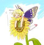 1girl antennae blonde_hair blush butterfly fairy flower mary_janes minigirl pink_shoes shimon shimotsuma shoes solo sunflower thigh-highs wings yuuichi_(tareme_paradise)