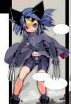 1girl animal_ears bare_legs bike_shorts blue_eyes blue_hair claws coat genderswap gloves marvel najimi_shin navel solo uniform wolverine x-men younger