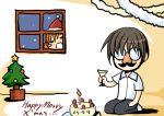 1boy 1girl brown_hair cake candle christmas christmas_tree fake_mustache food glass glasses higurashi_no_naku_koro_ni indoors maebara_keiichi peeking room ryuuguu_rena santa_costume seiza sitting window